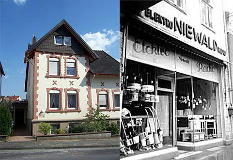 Links: Außenansicht Siegfriedstraße 17 - Rechts: Ehemaliger Firmensitz in Detmold